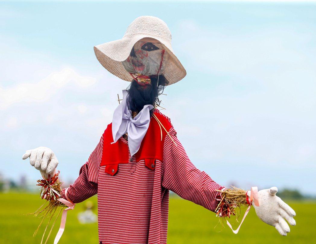 宜蘭縣冬山鄉三奇伯朗大道,佇立許多頗具巧思的稻草人。記者程宜華/攝影