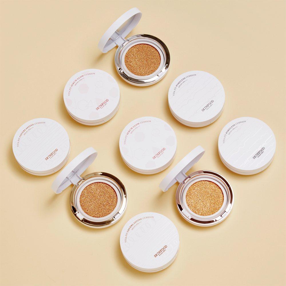 SKINFOOD全新「維他專屬訂製氣墊粉餅」,針對不同膚質、膚色研發出三款三色系...