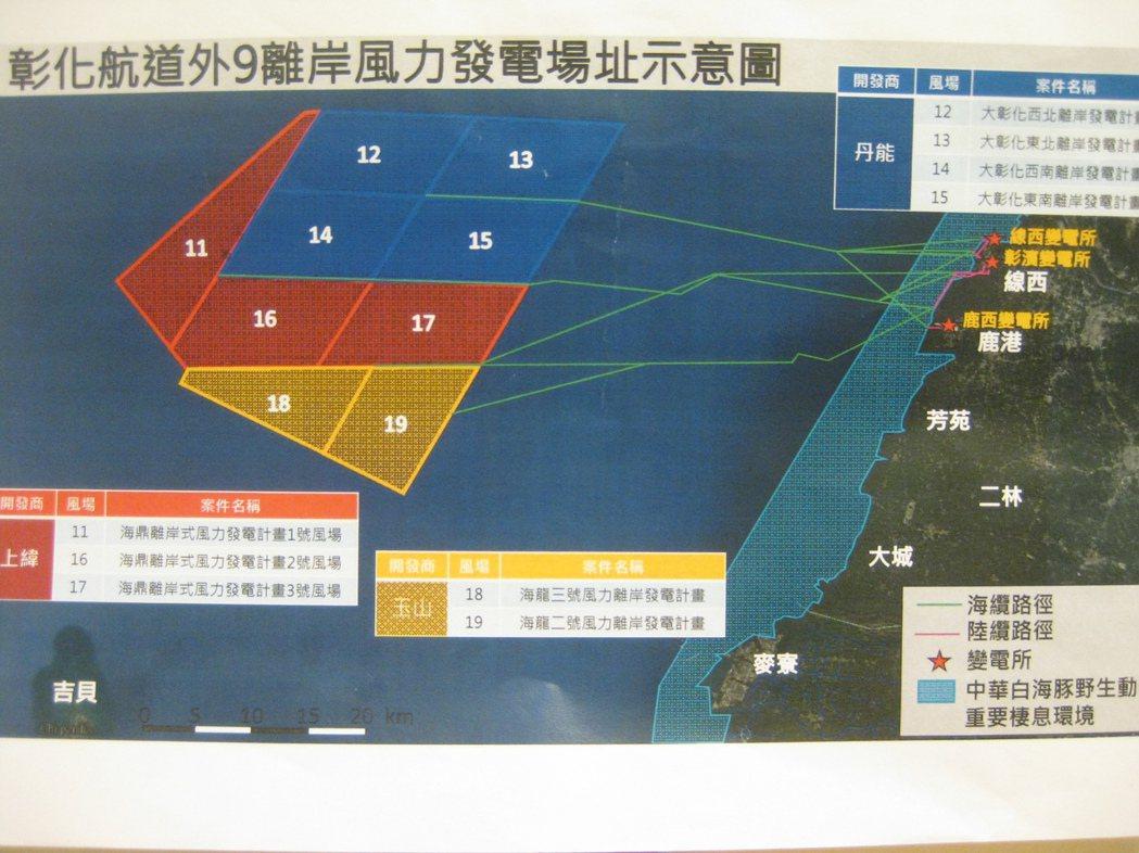 彰化縣外海離岸風場開發計畫如圖所示。記者簡慧珍/攝影