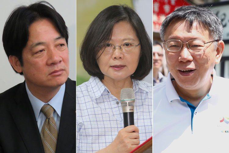 蔡英文總統(中)、賴清德(左)和柯文哲(右)。 圖/聯合報系資料照片