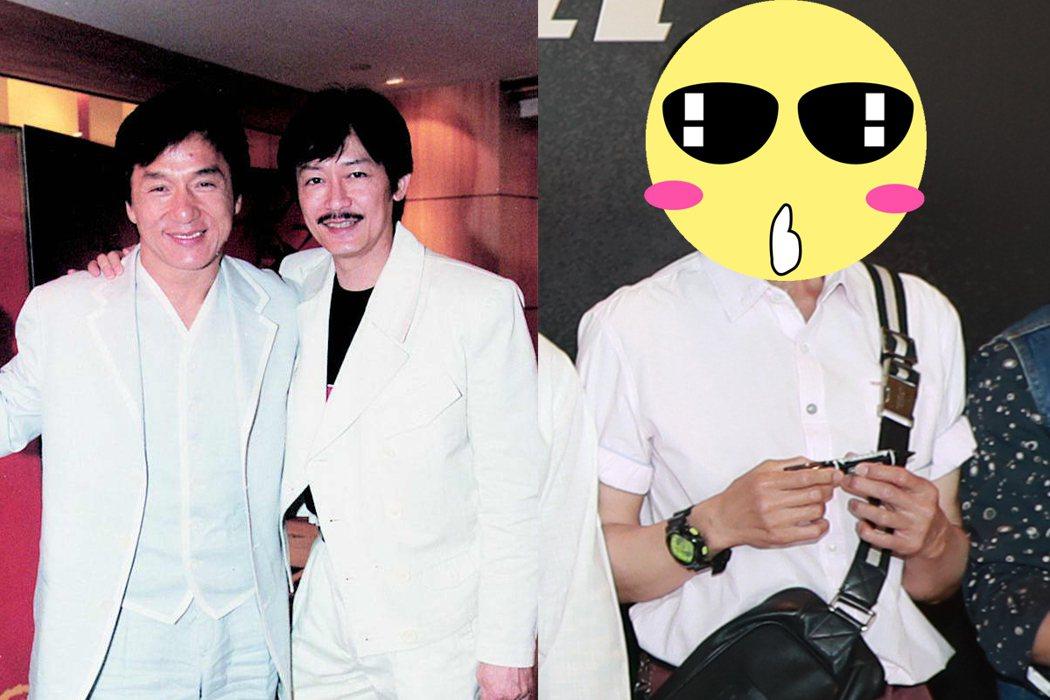 當年「小狐仙」小鬍子浪子(圖左),如今身形極為削瘦(圖右),加上戴著墨鏡,與往日