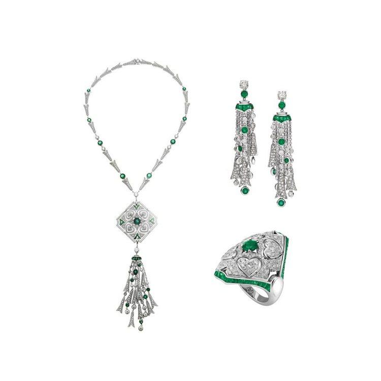 瑞瑪席丹配戴的BVLGARI 義大利花園系列白金祖母綠鑽石項鍊、耳環及戒指。圖/...