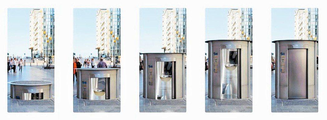 荷蘭阿姆斯特丹在街頭安裝升降式公廁,解決伴隨城市夜生活常見的隨地便溺問題。 圖/...