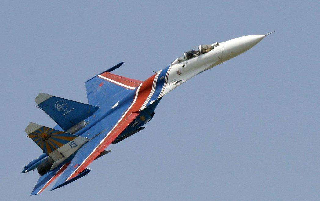 俄國蘇愷-27戰機。 (SERGEY VENUAVSKY/美聯社)