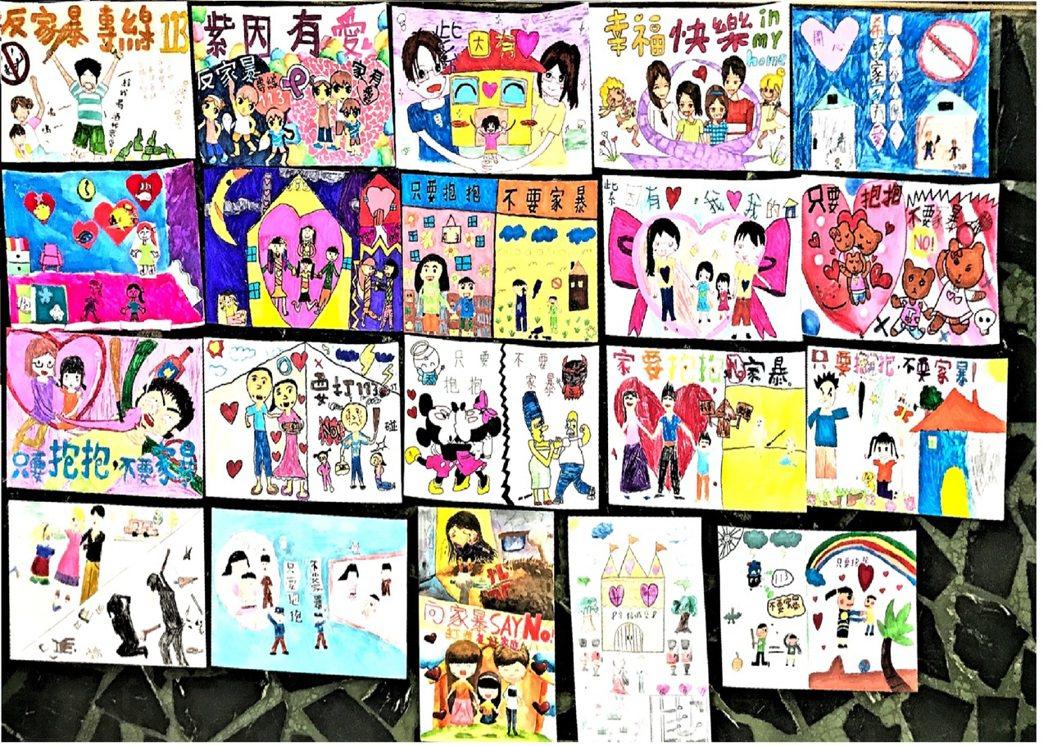社區自發性辦「遠離家暴繪畫」,讓孩子從小培養預防家暴等觀念。圖/新竹市政府社會處...