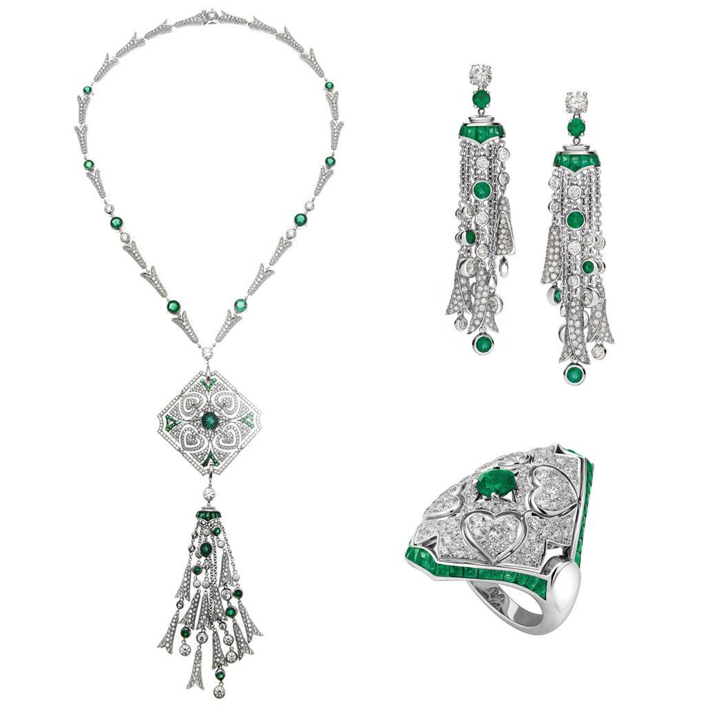 瑞瑪席丹配戴的BVLGARI 義大利花園系列白金祖母綠鑽石項鍊、耳環及戒指(26...