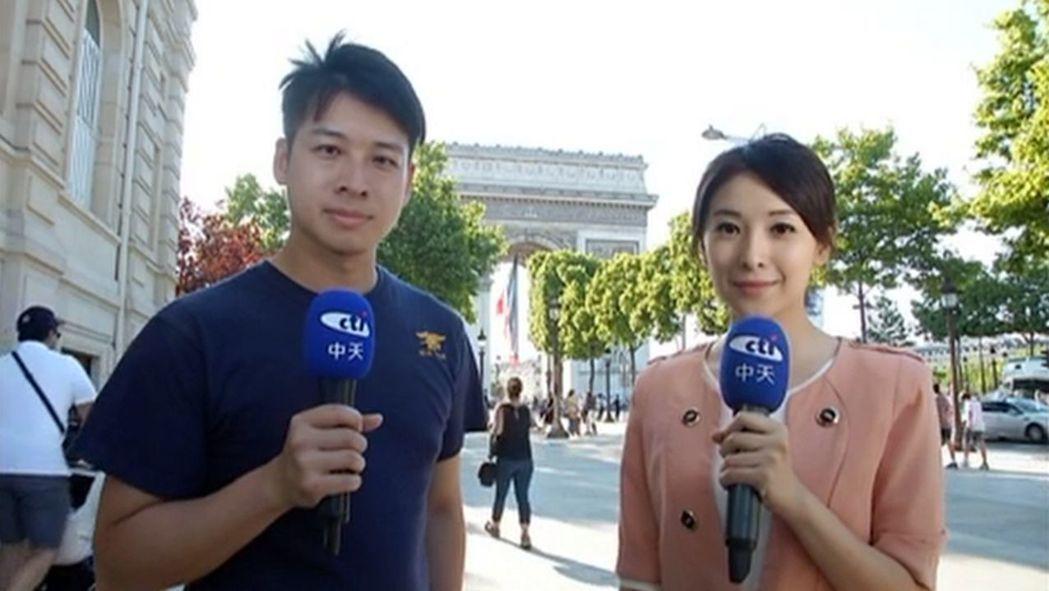 中天主播許甫(左)、張雅婷前進巴黎,除採訪全球最大航展,也直擊香榭麗舍恐攻。圖/