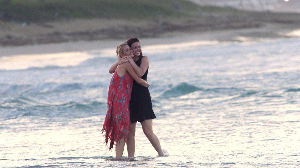 「深海鯊機」兩位美女主角也有沙灘賞美景的畫面。圖/摘自imdb
