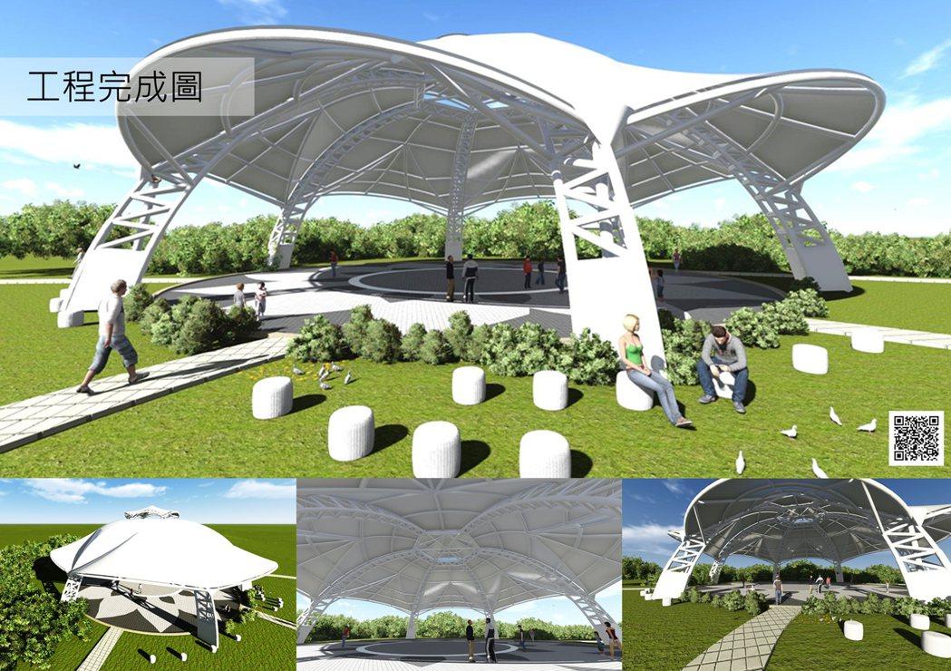 三民公園天幕完工示意圖。記者鄭國樑/翻攝