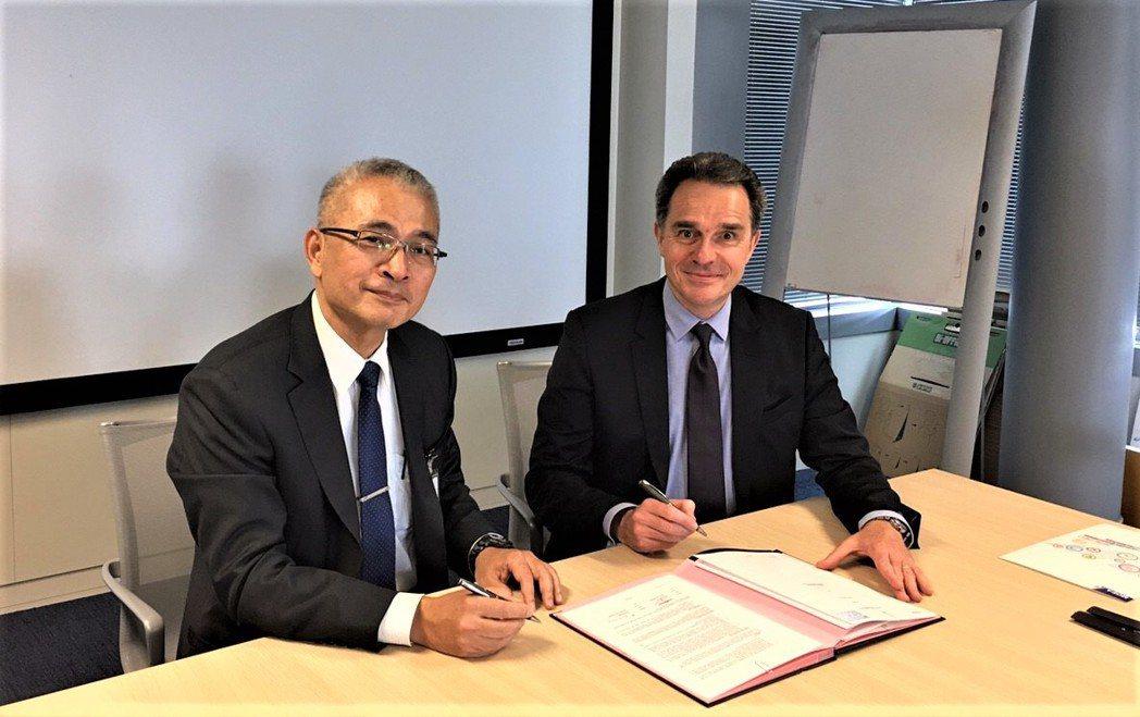 工研院副院長張培仁(右)與達梭系統資深副總裁Bertrand SICOT(左)共...