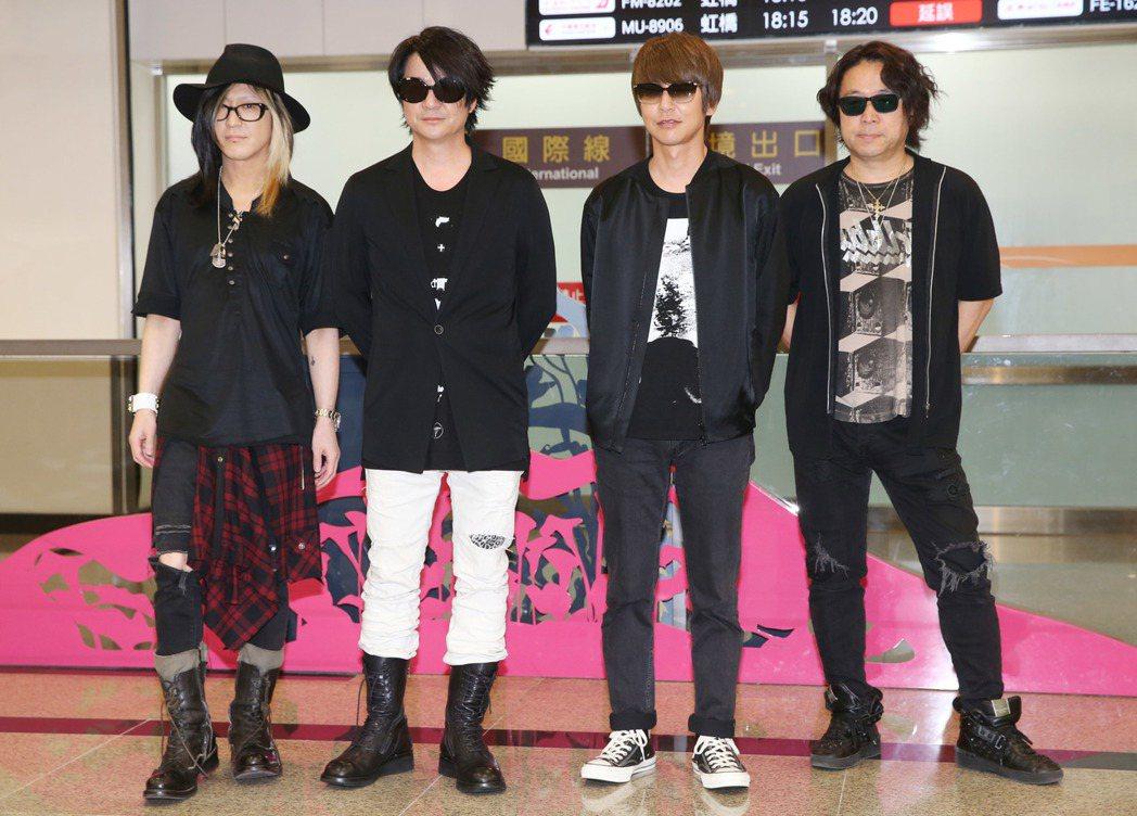 日本搖滾天團GLAY日前已抵台,密謀與五月天在金曲獎上給粉絲驚喜。圖/聯合報系資...