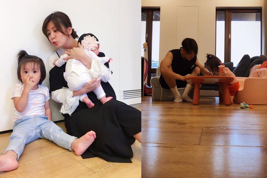 賈靜雯22日工作完回家,看到父女一起在桌上畫畫(圖左),兩人還賊賊的笑。 圖/擷...