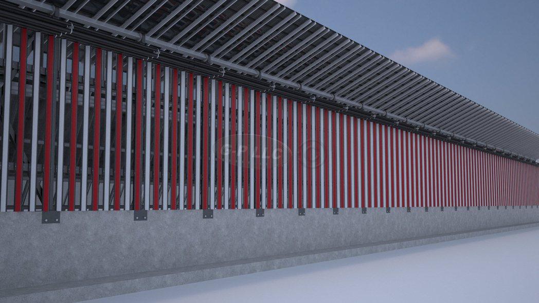 業者提出的美墨太陽能邊界牆構想照,認為日後還可以賣電給墨西哥。(美聯社)