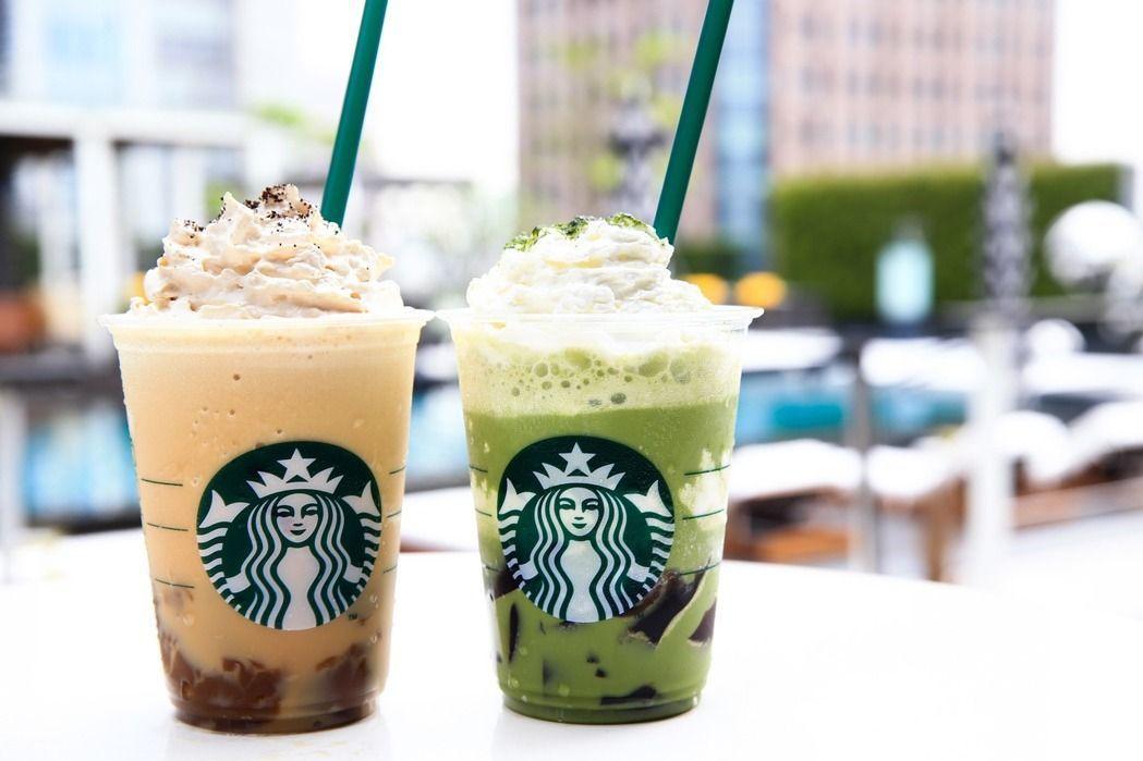 夏季限定款「茶&茶星冰樂」(左)、「愛爾蘭布丁咖啡星冰樂」(右)。記者林伯東/攝...