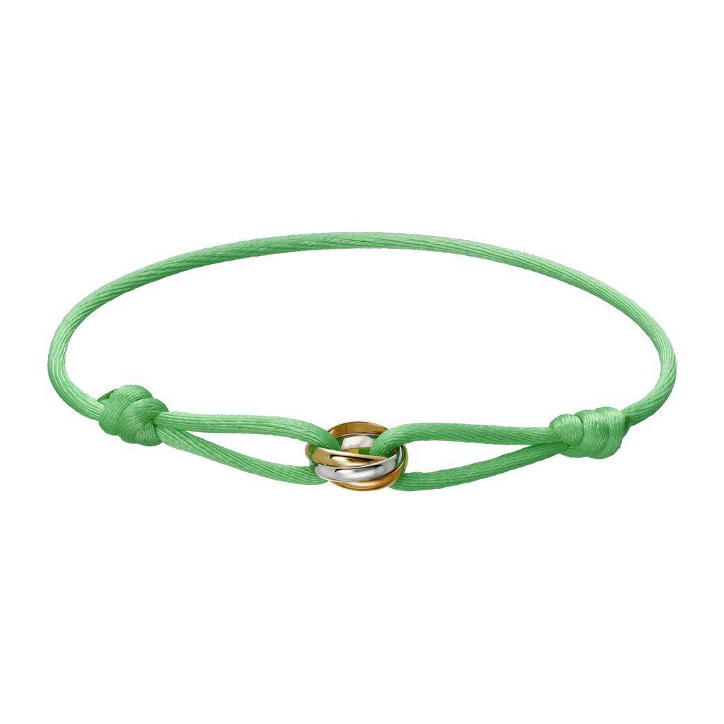 Trinity de Cartier 絲繩系列手環,白 K 金、玫瑰 K 金及黃...