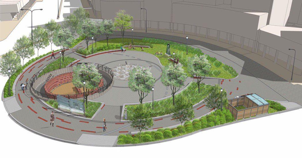 建成圓環完工模擬圖。 圖/公園處提供