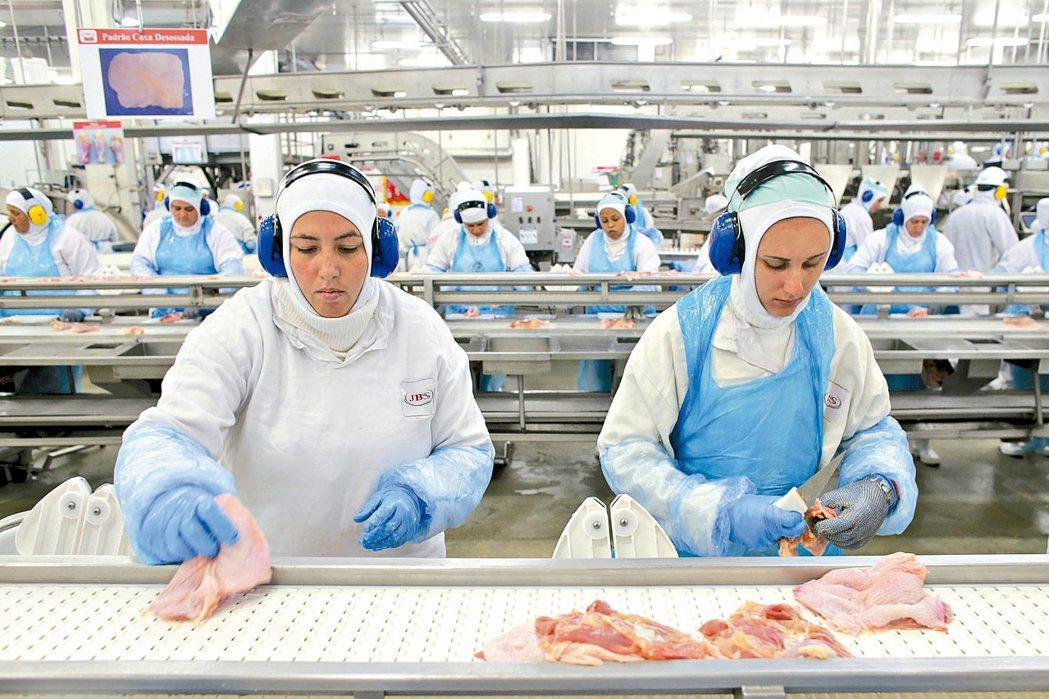 美國禁止從巴西進口牛肉,巴西農業部部長將提前訪美協商,圖為巴西拉帕肉品包裝公司檔...