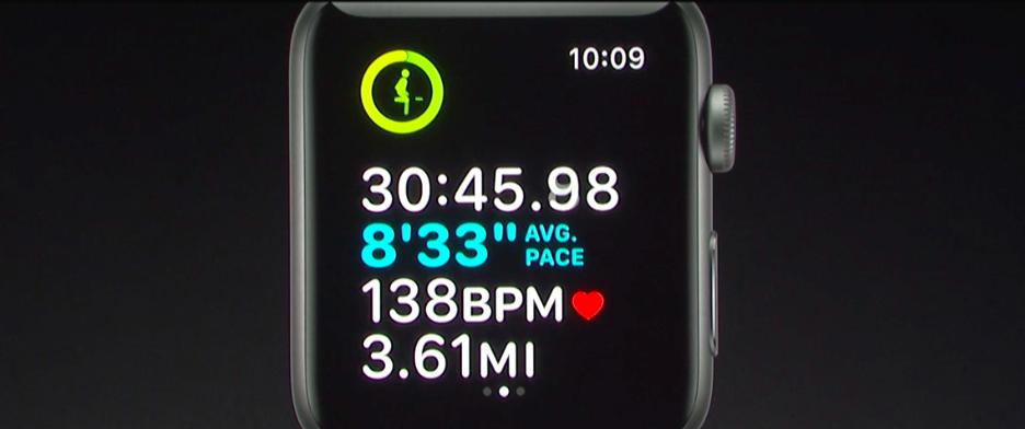 蘋果在WWDC 2017上展示WatchOS 4,可即時檢視身體狀況。圖取自Ap...