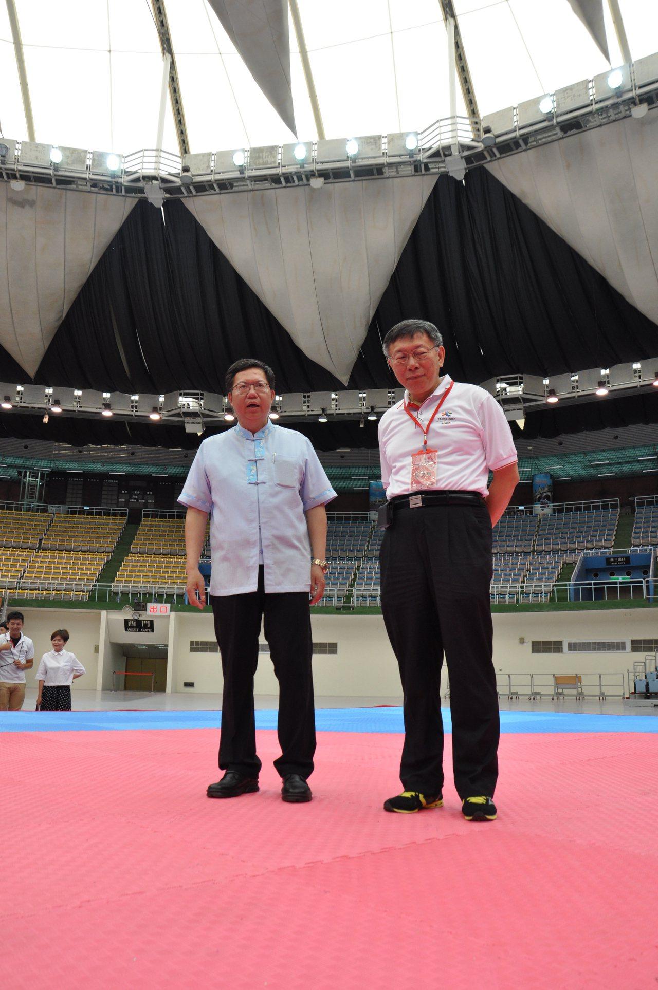 桃園市立體育館將作為世大運跆拳道賽場,現場設置可在2分39秒內完成收納的活動座椅...