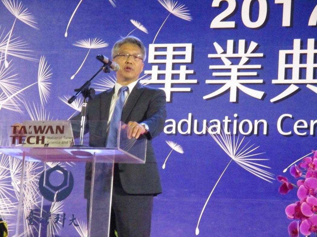 中研院院長廖俊智應邀到台灣科技大學畢業典禮演講。記者陳宛茜/攝影