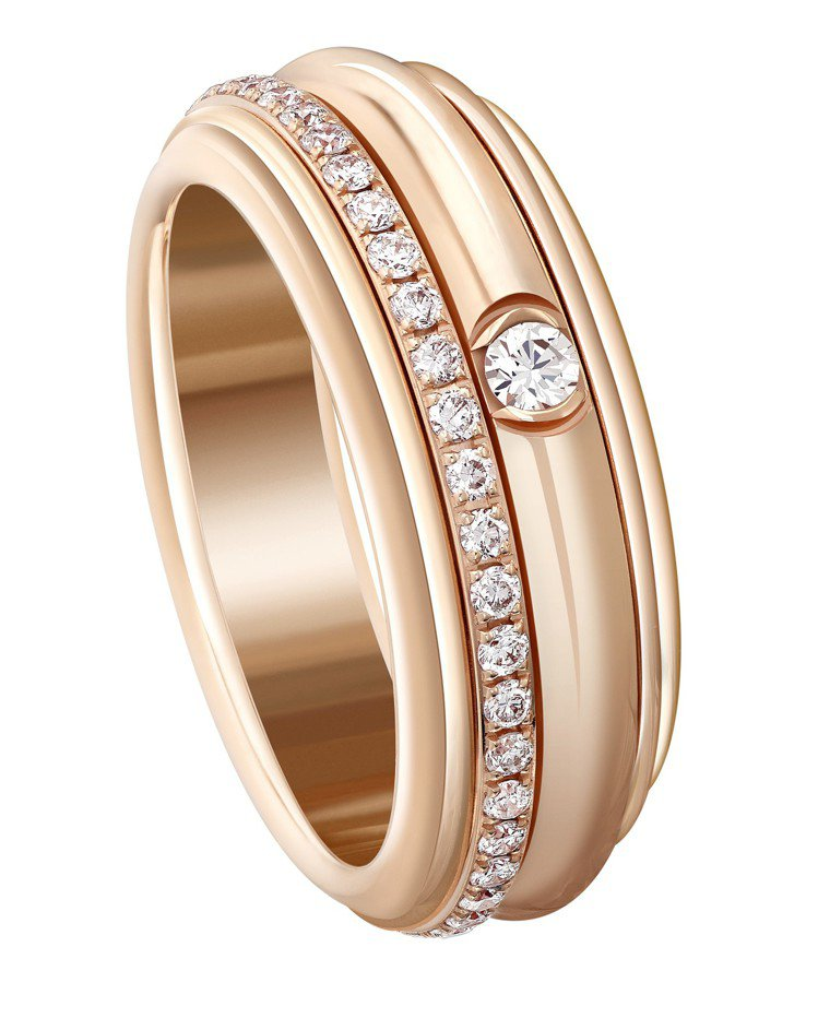 Erika配戴的Possession18K玫瑰金鑲鑽旋轉指環,18萬9,000元...