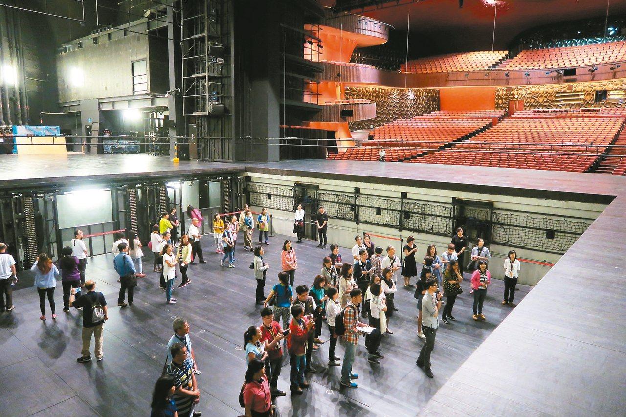 大劇院深降舞台能一口氣下降到地下二樓,觀眾報名舞台體驗,能感受深降高度。 圖/台...