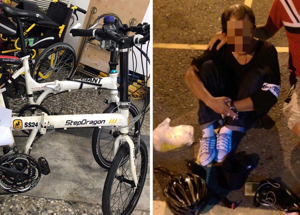 男子假裝單車騎士在捷運站附近下手行竊名牌小折。記者蕭雅娟╱翻攝