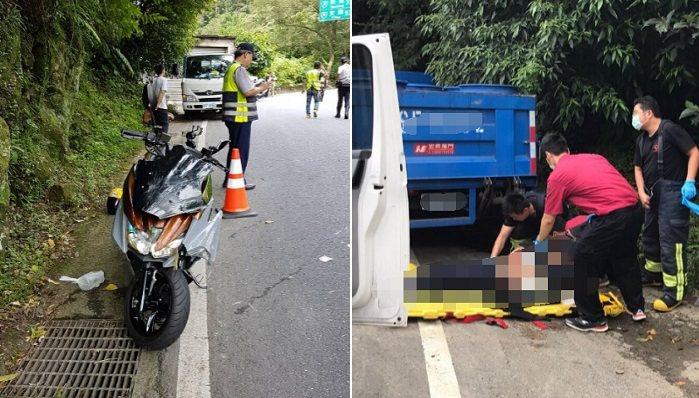 翁男疑過彎不慎滑倒,撞到路邊停放的小貨車命危。記者江孟謙/翻攝