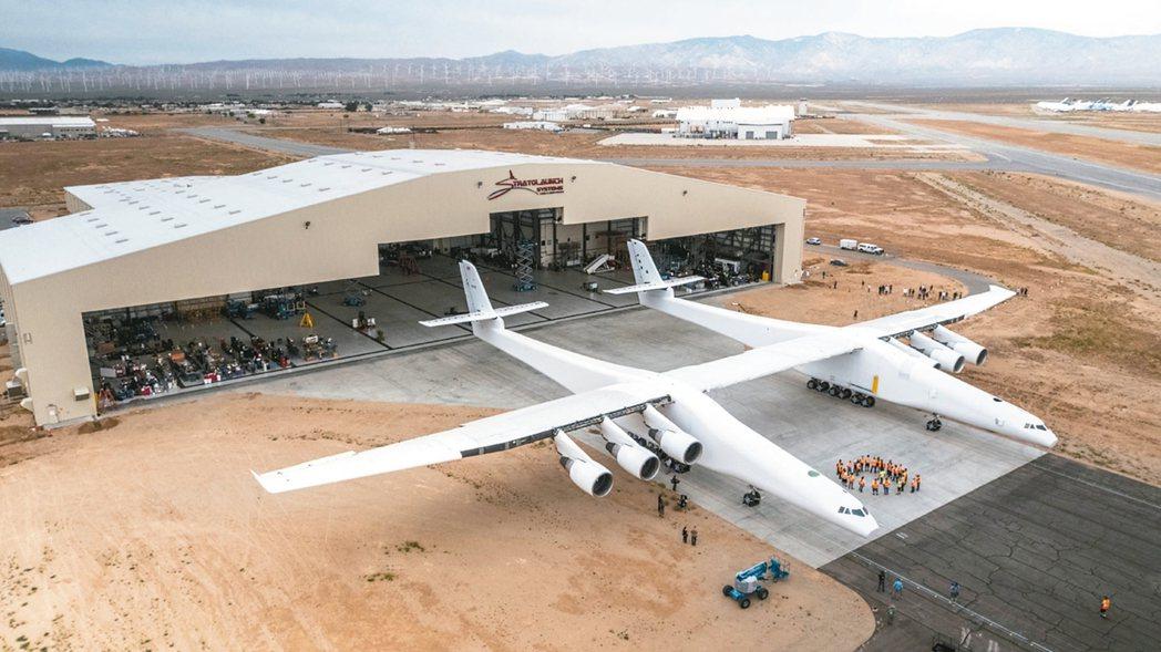 全球最大飛機「同溫層發射載機」。 法新社
