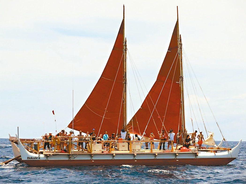 夏威夷玻里尼西亞航海獨木舟「歡樂之星號」費時3年環遊世界。 美聯社