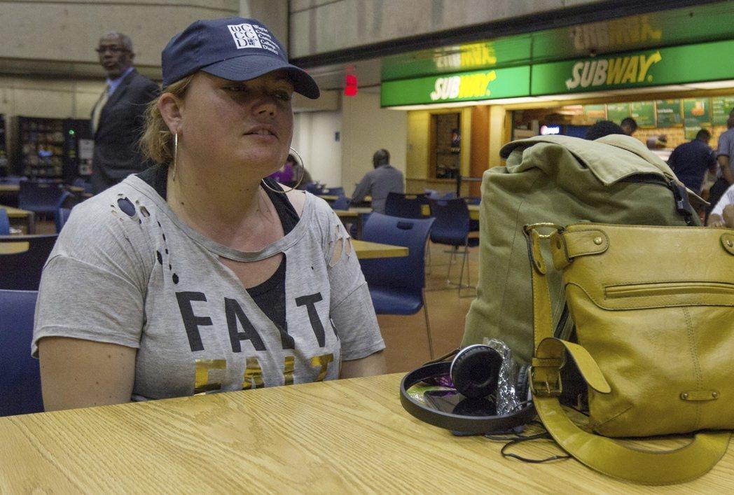 底特律社區學院的遊民學生珍妮佛‧卡爾。(美聯社)