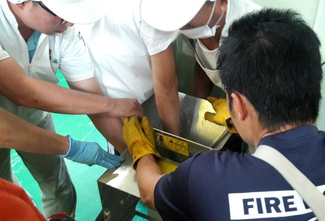 桃園市一家食品加工廠越南籍移工疑因攪拌機卡住,將手伸入扳動不慎,右手兩指遭機器捲...