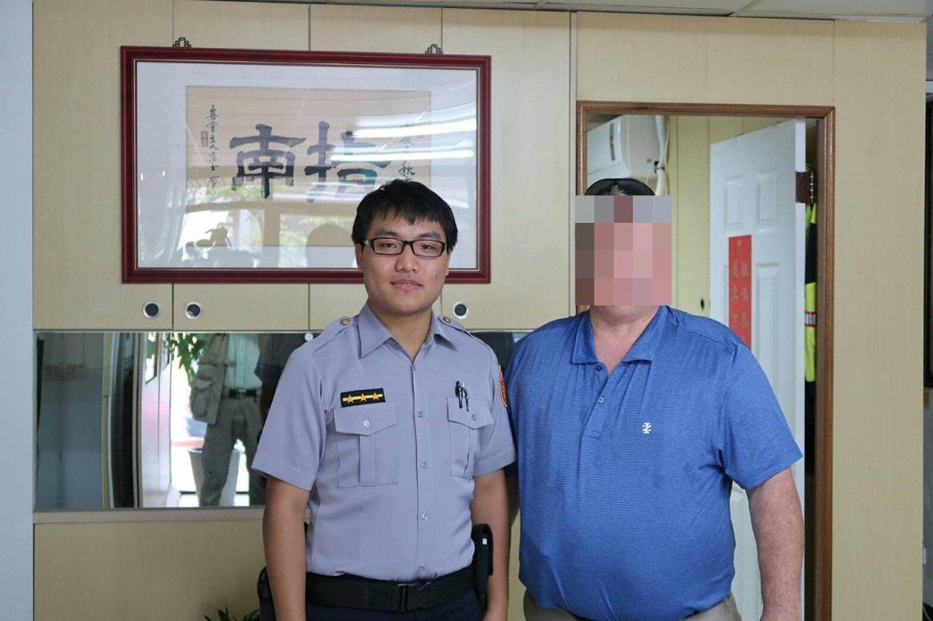 美籍男子遺落手機,台灣警方迅速幫他找回失物。記者廖炳棋/翻攝