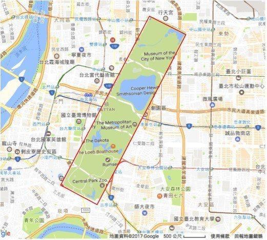 中央公園在台北市,等比例圖形。 圖/作者提供