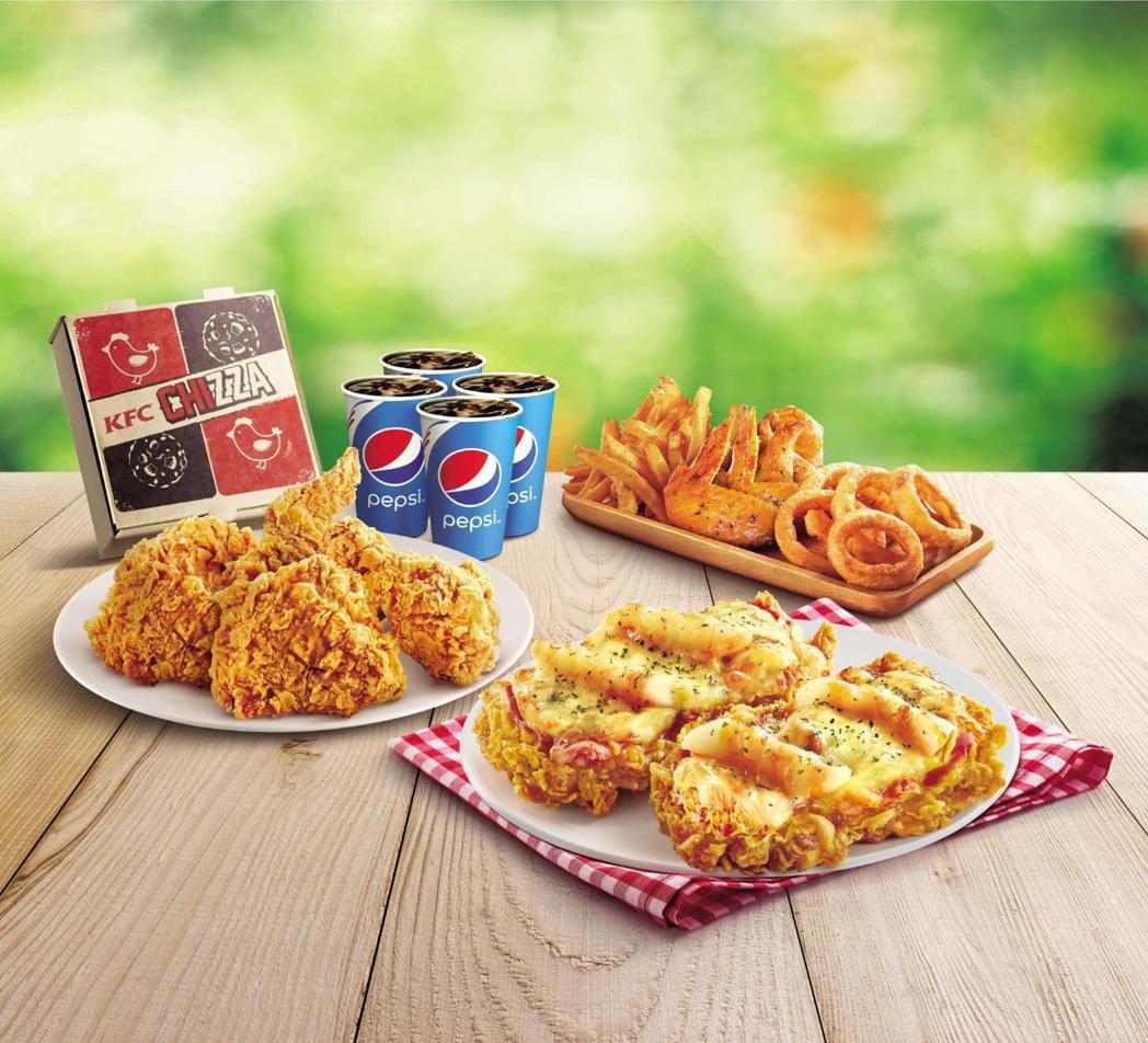 「KFC_CHIZZA披薩雞腿排野餐派對組」的大份量組合,搭配豐富的「烤炸享樂拼...