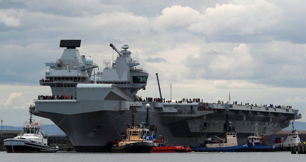 英國「伊麗莎白女王號」航空母艦。(路透)