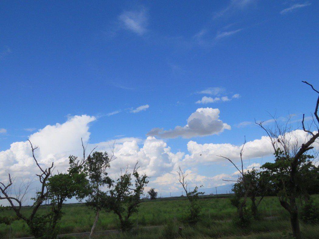 藍天白雲中,出現灰灰的雲。 聯合報系資料照/記者雷光涵攝影