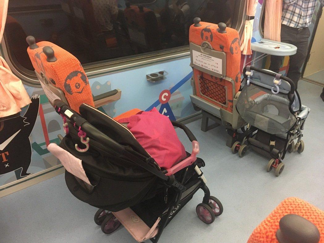 台鐵親子車廂單人座也可固定娃娃車。記者雷光涵/攝影