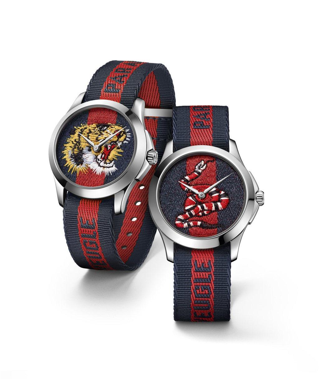 GUCCI奇蹟市集系列腕表,38毫米帆布織帶表盤飾有虎頭、珊瑚蛇刺繡,不鏽鋼表殼...