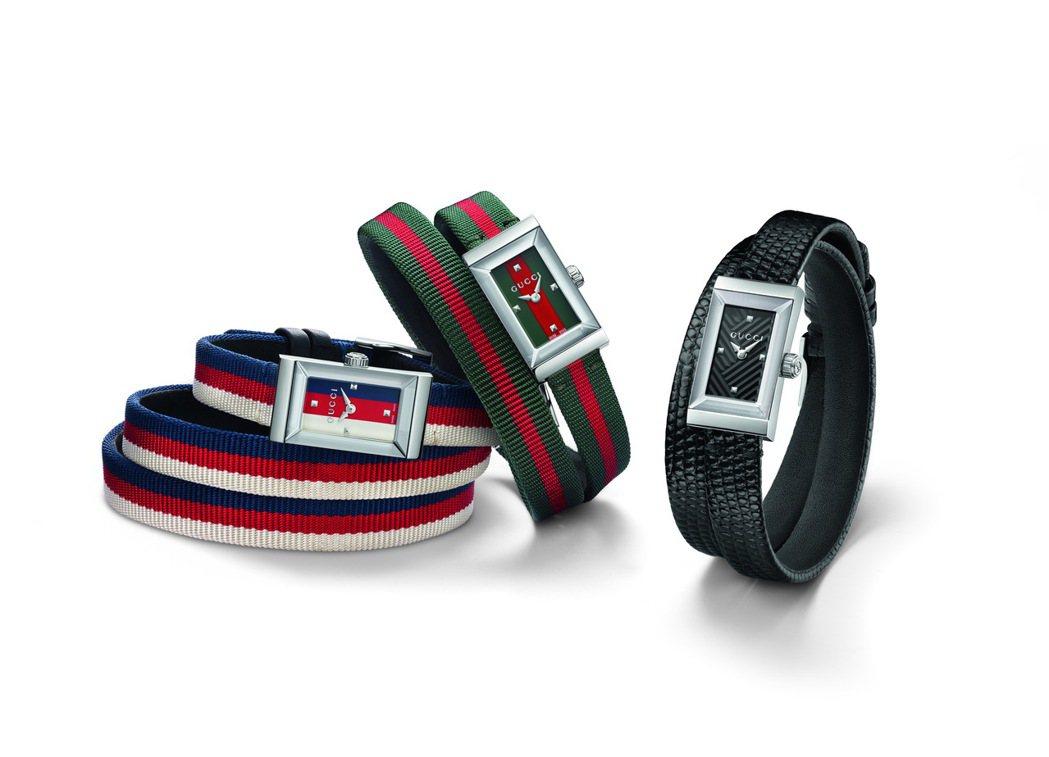 GUCCI Grame系列腕表,帆布織帶表款約30,000元;特製黑色蜥蜴皮表款...