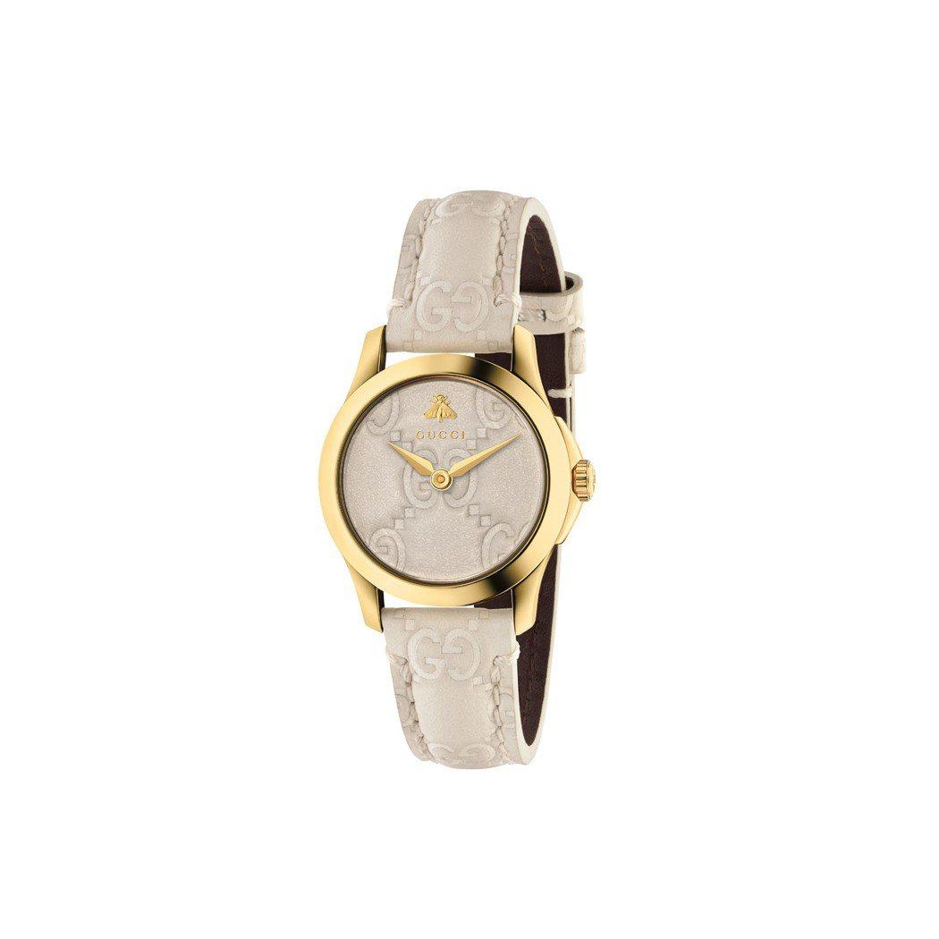 GUCCI G-Timeless系列腕表,27毫米白色GG壓紋小牛皮表面,黃金色...