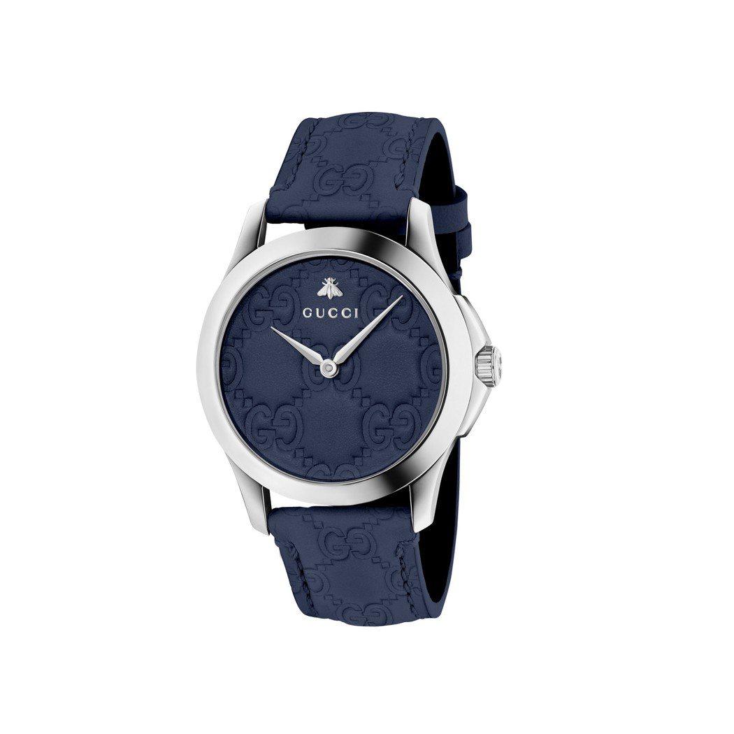 GUCCI G-Timeless系列腕表,38毫米深藍色GG壓紋小牛皮表面,不鏽...