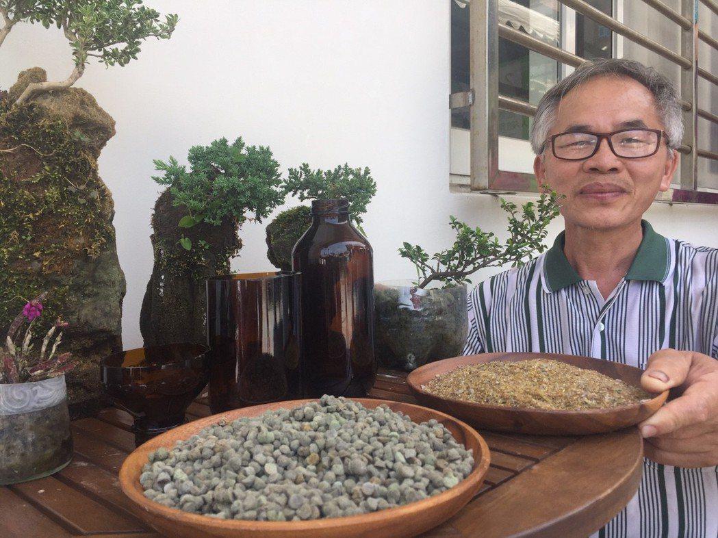 玻璃工藝師邱大展將廢棄玻璃打造為「玻璃土」,做為植栽運用。 記者郭宣彣/攝影
