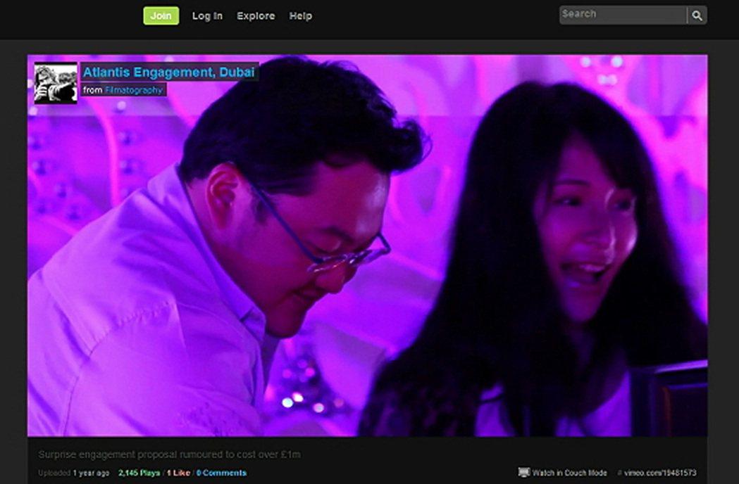 網路流傳一段馬來西亞富商劉德祖(左)向蕭亞軒示愛影片。(網路圖片)