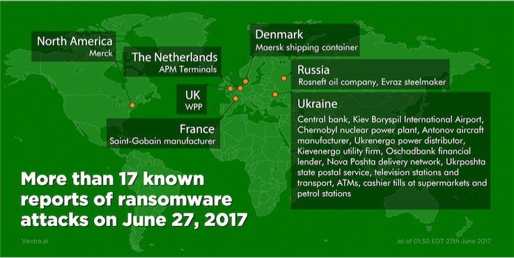 大規模網路攻擊27日再度來襲,歐洲包括烏克蘭、俄羅斯和英國等地,多家企業遭殃,烏...