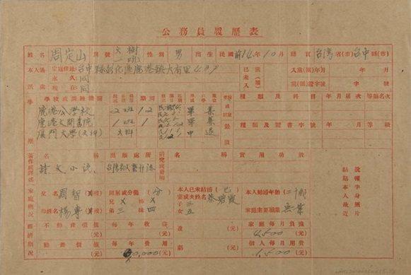周定山親自繕寫的「公務員履歷表」,上頭記載其於1922年就讀於廈門大學文科,不過...