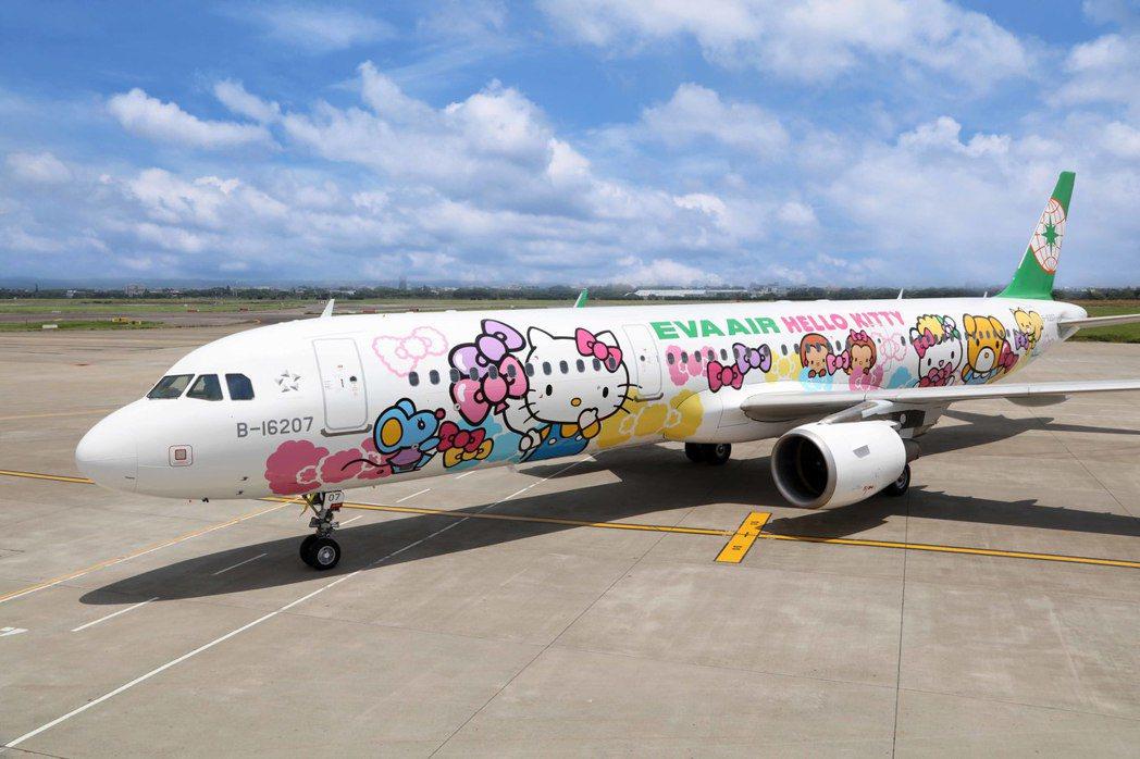 Hello Kitty友誼機的機身彩繪圖案繽紛奪目,Hello Kitty與Fi...