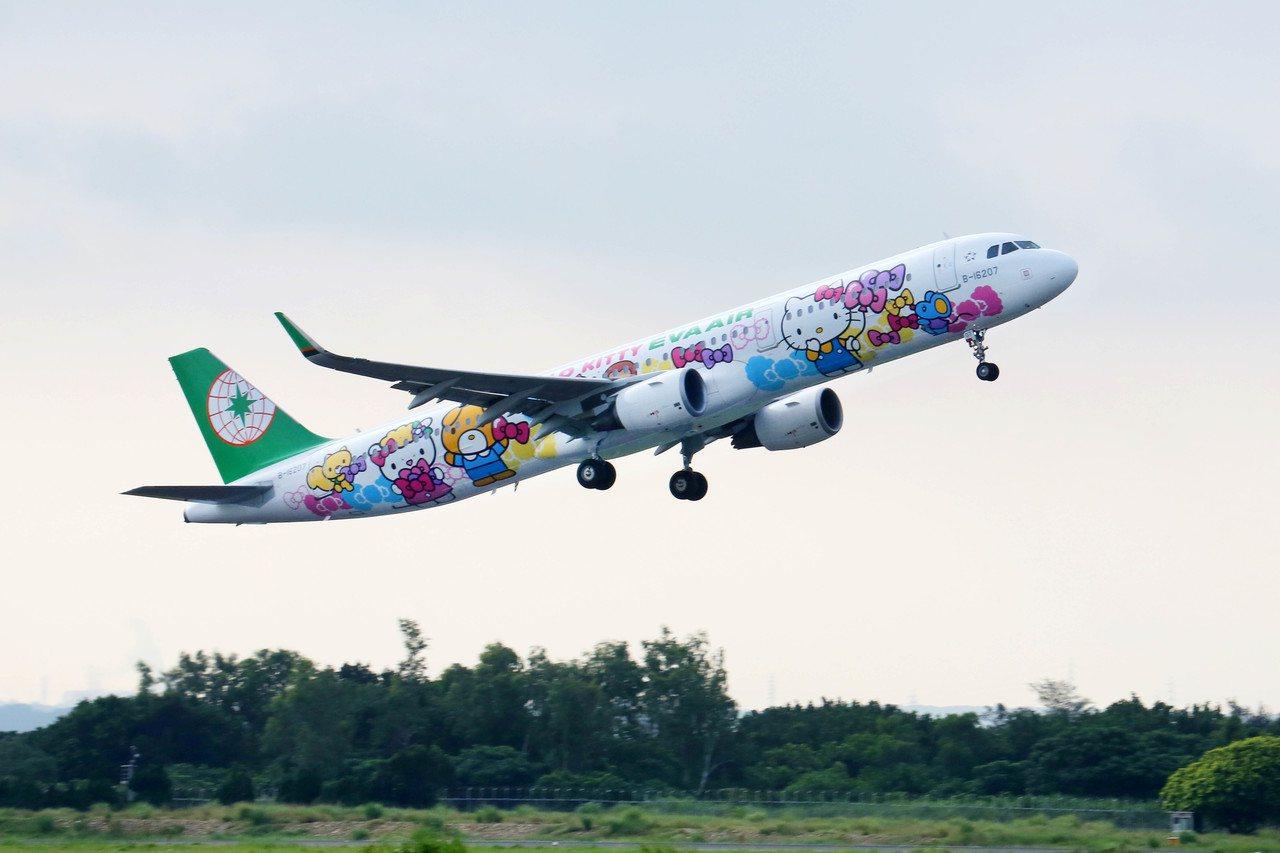 長榮航空Hello Kitty友誼機於全新登場,首航沖繩與大阪。圖/長榮航空提供