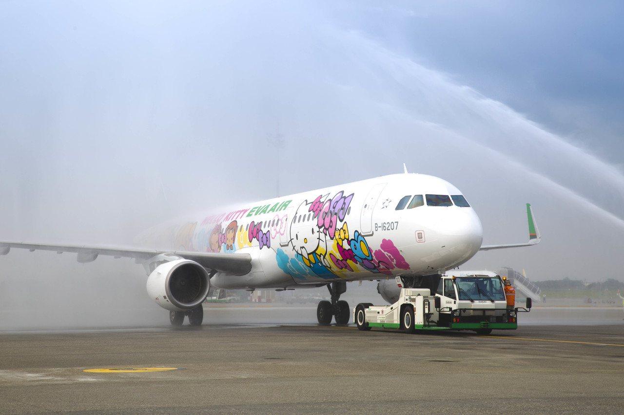 友誼機是長榮航空第二架A321-200彩繪機,28日首航沖繩,特別安排灑水儀式,...