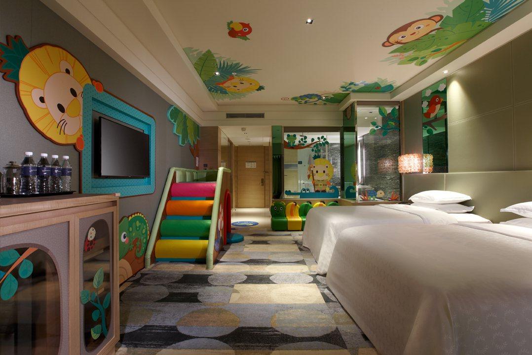 波波冒險森林主題房,以可愛風吸引小遊客。圖/新竹豐邑喜來登提供